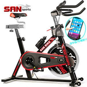 ⊙偷拍網⊙【SAN SPORTS】黑爵士18KG飛輪健身車 C165-018 (4倍強度.18公斤飛輪車.室內腳踏車)