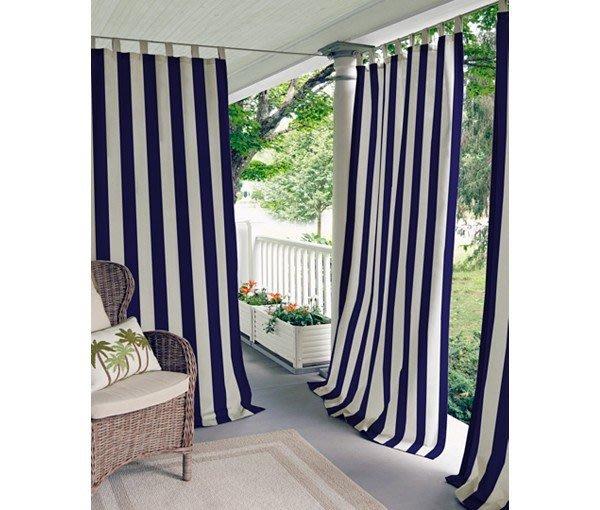 CasaBella美麗家居 | Elrene 美式直條設計 窗簾 藍 127x213cm | 落地簾 門簾 隔間簾