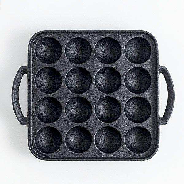 日本鑄鐵烤盤南部鐵器【池永】章魚燒鑄鐵烤盤16穴 電磁爐OK 烤肉丸子 小獅子頭