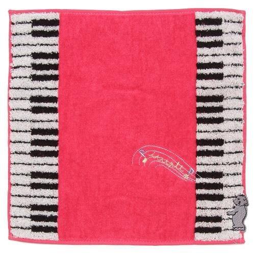 ~~凡爾賽生活精品~~全新日本進口鋼琴鍵盤動物造型粉紅色小方巾.手帕