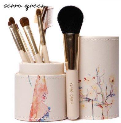 【愛來客 】專利商標Cerro Qreen專業時尚刷具組 桶裝7支套刷組 化妝刷 鹿女孩
