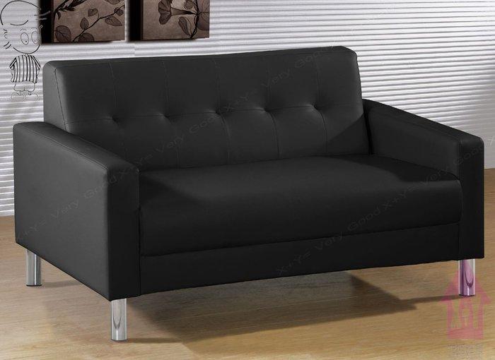 【X+Y時尚精品傢俱】現代沙發組椅系列-約翰 黑色雙人皮沙發.情人椅.迎賓椅.合成乳膠透氣PVC皮+實木椅架.摩登家具
