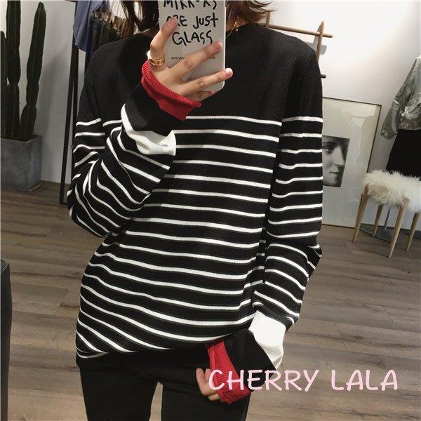 CHERRY LALA 韓國單實拍春天新款百搭條紋絲麻料針織一字領薄針織衫-(灰、白色現貨)  特價  出清 賠售
