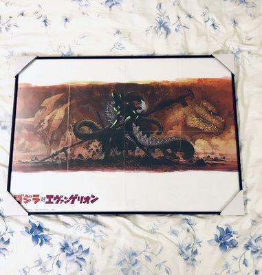 日本7-11限定 NANACO卡 摺頁 海報含框 福音戰士 初號機 VS 哥吉拉 52*73 官方 正版 海報  日本知