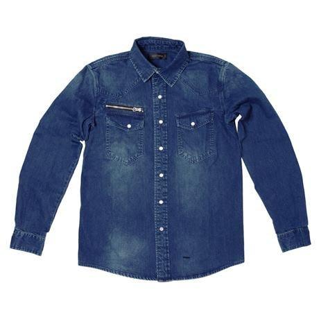 { POISON } SKATOPIA THE SILENT PLACE DENIM SHIRT 重磅丹寧珍珠釦牛仔襯衫