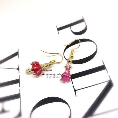 韓國公主不對稱耳環《奧蘿菈Aurora韓國飾品》 免費改夾式耳環 附收納袋及拭銀布 台北市