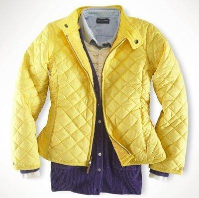 (((二手特價))) 美國 RALPH LAUREN POLO 胸前繡馬亮黃色菱格紋立領鋪棉外套 M(8/10)