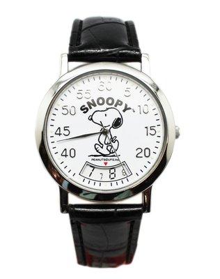【卡漫迷】 六折出清 Snoopy 手錶 皮革 黑色 旋轉時針 ㊣版 史努比 女錶 兒童錶 卡通錶 史奴比 男錶 造型錶