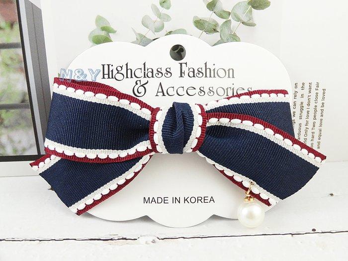 韓國優雅珍珠蝴蝶結髮夾邊夾頂夾髮飾HA100 多色 ☆【N&Y】【現貨】