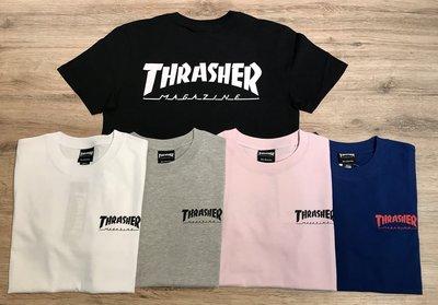 【MASS】THRASHER HOMETOWN FRONT BANK TEE 胸口小LOGO 黑/白/灰/粉/藍