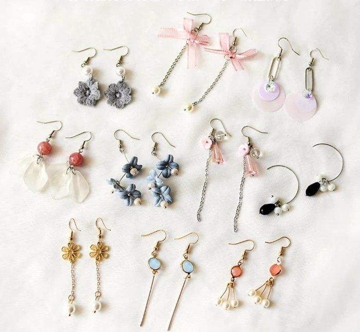diy耳環材料包 緞帶 流蘇 自製耳釘耳飾品耳墜配件 花朵款 21