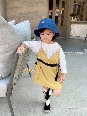`惗.Study溡光 辰辰媽女童裝秋夏裝2020年潮新款洋氣假兩件工裝拼接兒童寶寶吊帶連衣裙