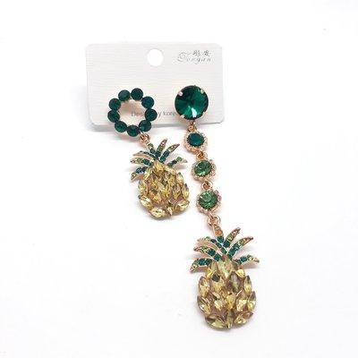 現貨 鳳梨不對稱蘇鑽耳環 長款耳墬 個性耳環