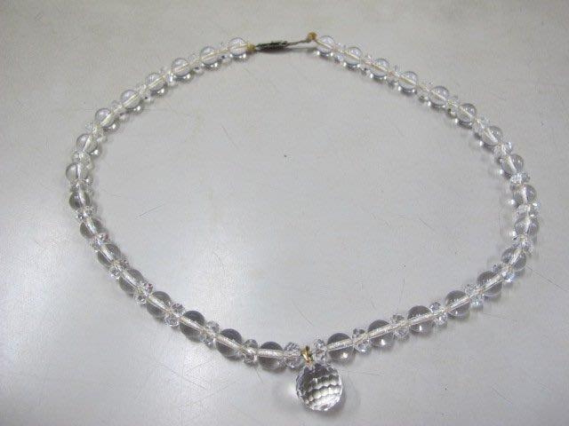 二手舖 NO.3658 585黃k金 天然白水晶項鍊 首飾飾品