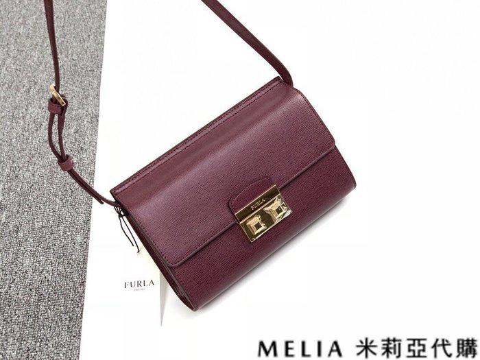 Melia 米莉亞代購 商城特價 數量有限 0812 FURLA 風琴包 單肩斜背包 牛皮牙籤細紋 鎖扣包 酒紅色