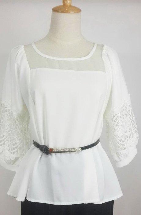 白色雪紡蕾絲袖上衣   現貨一件喔!~