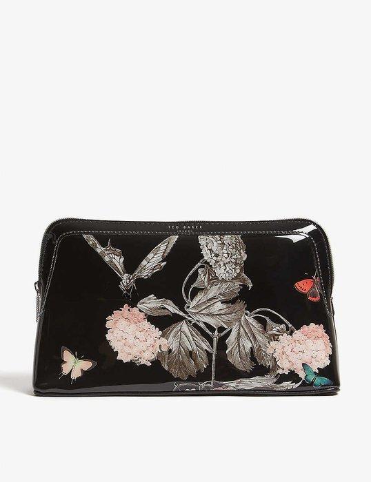 限時特價請先詢問[要預購] 英國代購 英國TED BAKER 黑色花卉化妝包