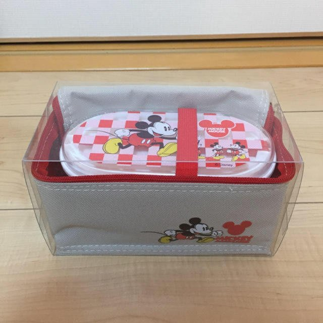現貨不必等 迪士尼 米奇 紅色.格子 便當盒 保鮮盒 餐具組 附綁帶 餐具 保溫 保冷袋 4580278042538 C