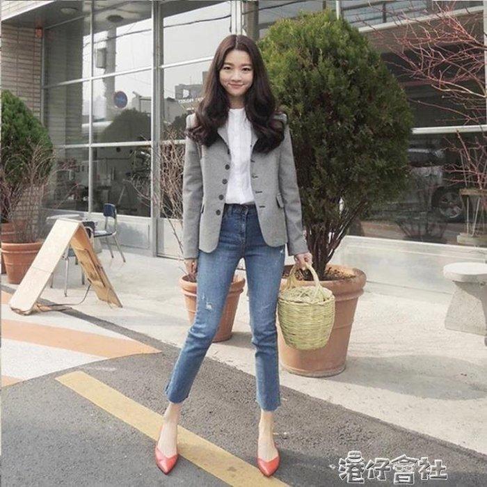 韓國藍色復古牛仔褲女顯瘦彈力毛邊窄管窄管九分小直筒八分褲