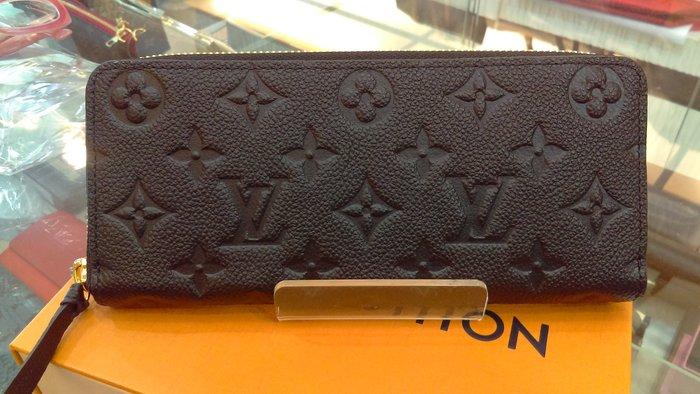 布蘭斯名牌館* 全新專櫃真品 LV M60171 黑色全皮 ㄇ型長夾店面貨有保障實品拍攝