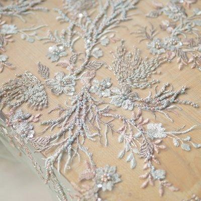 橙子的店 W197原版高定手工釘珠立體刺繡軟網紗定位繡花蕾絲布面料禮服用料