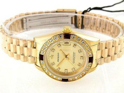 @六四三鐘錶精品店@普洛金(真品)手錶自動上鏈機械機芯3,6,9,12紅水晶鑽(女錶)!