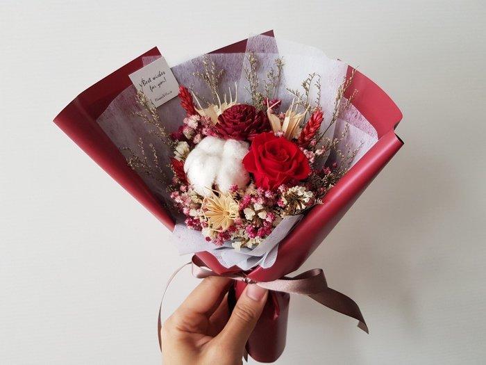 紅玫瑰永生+乾燥花迷你小花束│乾燥花束│台北歡迎自取西門1號出口【Flower&House花藝之家】