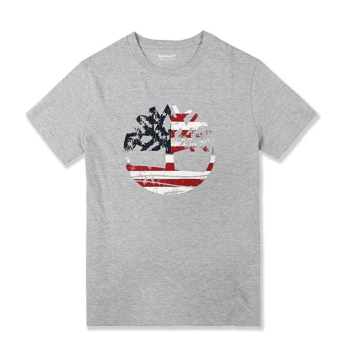 【Timberland】TL男款短袖美國旗大LOGO灰 F12191112-06