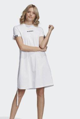 現貨 adidas r.y.v. 愛迪達 洋裝 長版 連身裙 抽繩 白 黑 短袖 gj6576 女