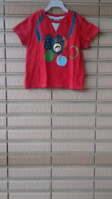 1元起標~二手[麗嬰房]紅色前胸背照相機造型可愛上衣(2)~