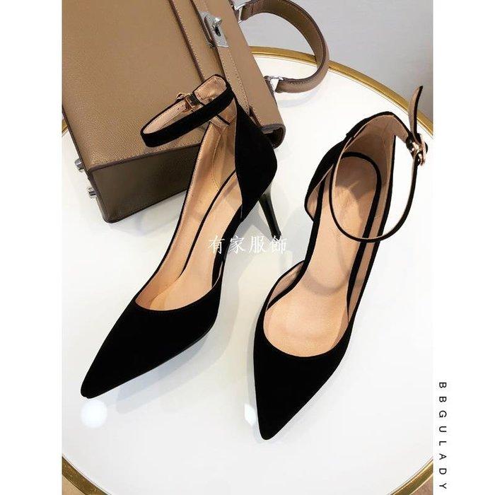 有家服飾性感BB古高跟鞋2019純羊皮尖頭真皮磨砂一字扣單鞋女側空職業女鞋