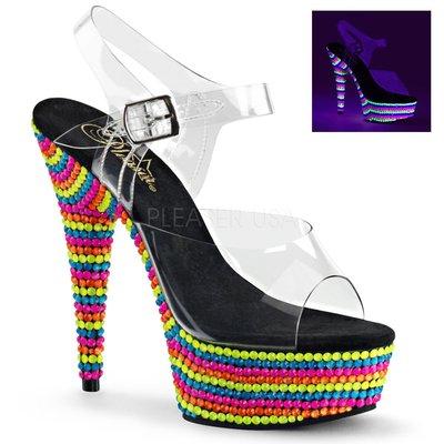 Shoes InStyle《六吋》美國品牌 PLEASER 原廠正品透明霓虹螢光彩虹珠厚底高跟涼鞋 出清『黑色』