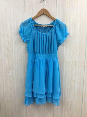 【愛莎&嵐】SO NICE 女 水藍色短袖洋裝 / S 1080617