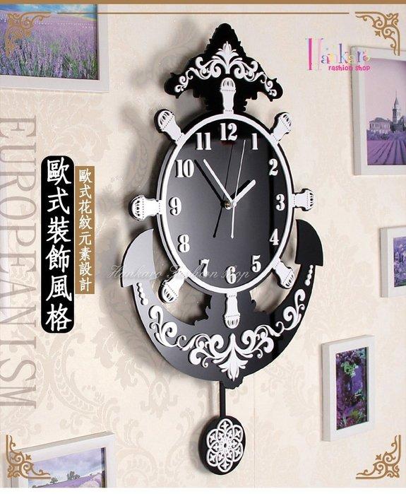 ☆[Hankaro]☆ 創意新風格壓克力立體海洋風船錨造型鐘擺掛鐘