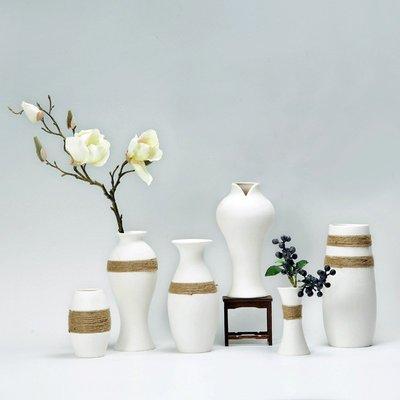熱賣現代客廳家居創意擺件簡約白色麻繩花瓶陶瓷文藝水培清新干花花瓶#擺件#陶瓷#北歐