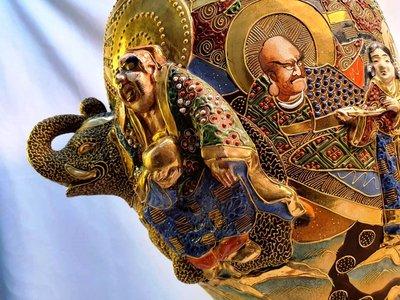 { Ruminant 慕名古物 } 錦光山造日本薩摩燒/明治時期逸品/描金浮雕立體大象