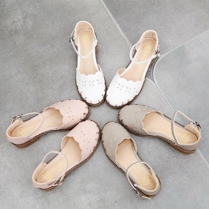 鞋子女2018新款夏季粗跟包頭森繫涼鞋百搭日?鏤空單鞋小清新女鞋