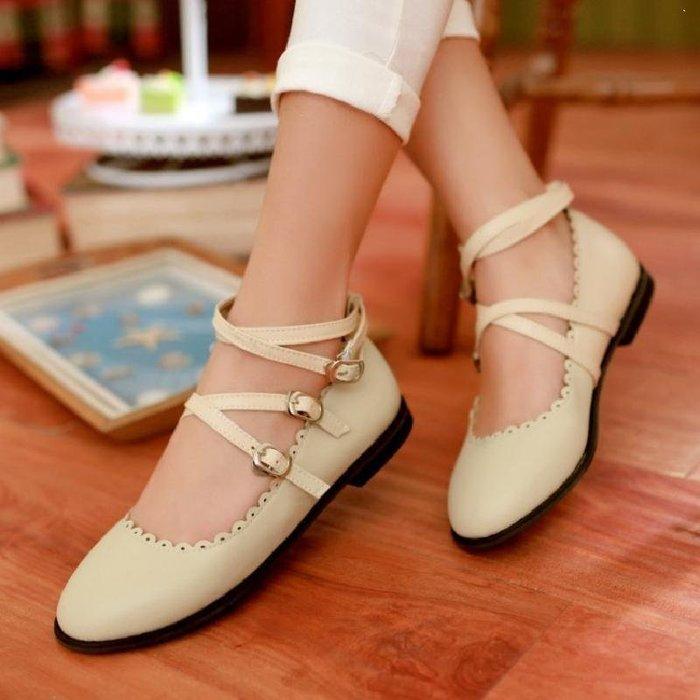 日和生活館 甜美公主花邊小皮鞋平底綁帶單鞋大童少女演出鞋一字扣女鞋 734D88