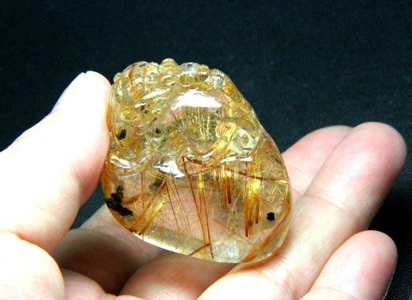 【小熊水晶窩】髮絲閃亮 晶體清透 天然橘紅銅鈦晶貔貅墜子 重35.3克
