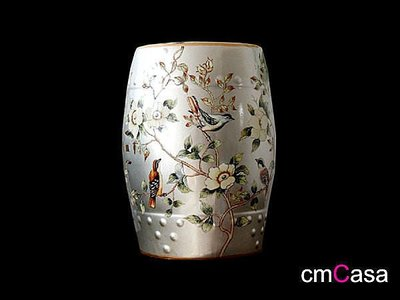 = cmCasa = [3415]東方古典人文設計 手繪銀色花鳥 陶瓷釉凳 陶瓷椅 穿鞋椅 陶瓷凳