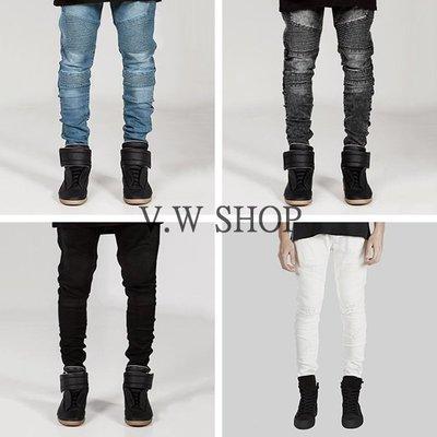 V.W SHOP 預購 機車牛仔褲 四色 Biker Jeans 藍 灰 黑 白  歐美 高街 Represent可參考