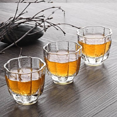 戀物星球 耐高溫日式錘紋玻璃茶杯小杯玻璃杯小茶杯品茗杯功夫茶茶杯