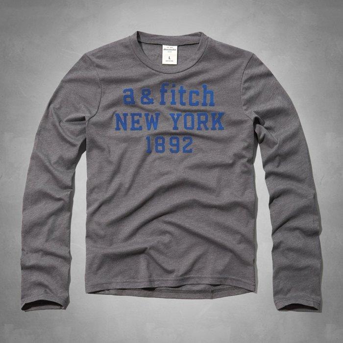 【abercrombie kids】【a&f】【零碼L】af男童款長袖T恤植絨寶藍字深灰 F06141229-14