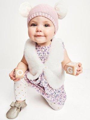 【Gap】Baby Gap TODDLER GIRL 針織毛帽 毛線帽 可愛雪球毛帽 針織帽 粉紅色