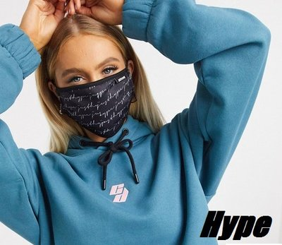潮牌口罩【歐洲空運】Hype 草寫 黑色 滿版logo 口罩 一組 可水洗 布口罩 可調節綁帶 非 醫療