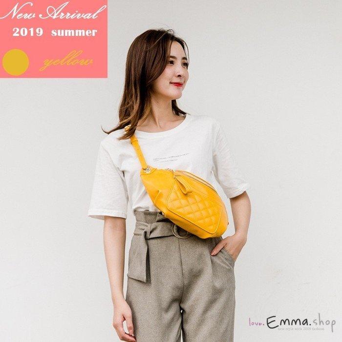EmmaShop艾購物-夏日新色上市 正韓菱格鏈條腰包肩背包/後背包/復古