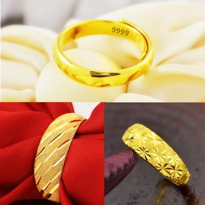 乾一歐幣仿黃金男士戒指越南沙金鍍金女士可調節戒子情侶對戒結婚飾品