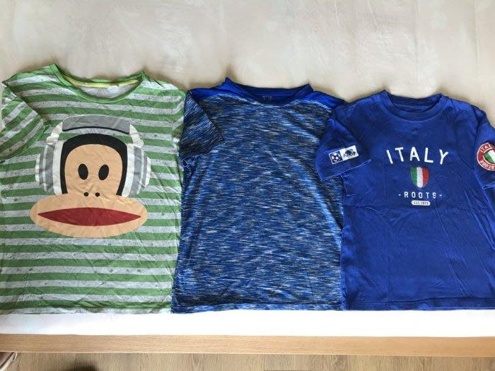 H&M大嘴猴/專櫃購買Roots義大利足球隊/迪卡儂排汗運動上衣-7A/130cm-一元起標