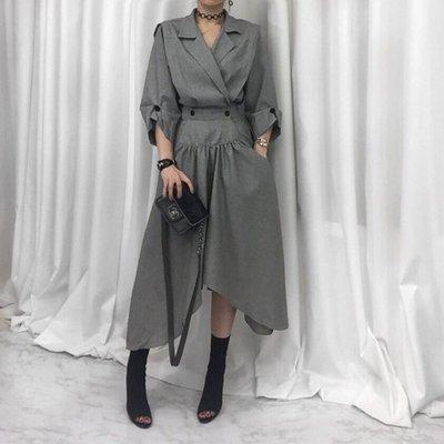 [ ohya梨花 ] =韓國帶回=2017秋冬新品韓妞個性穿搭黑色/灰色束腰西装風衣長大衣外套