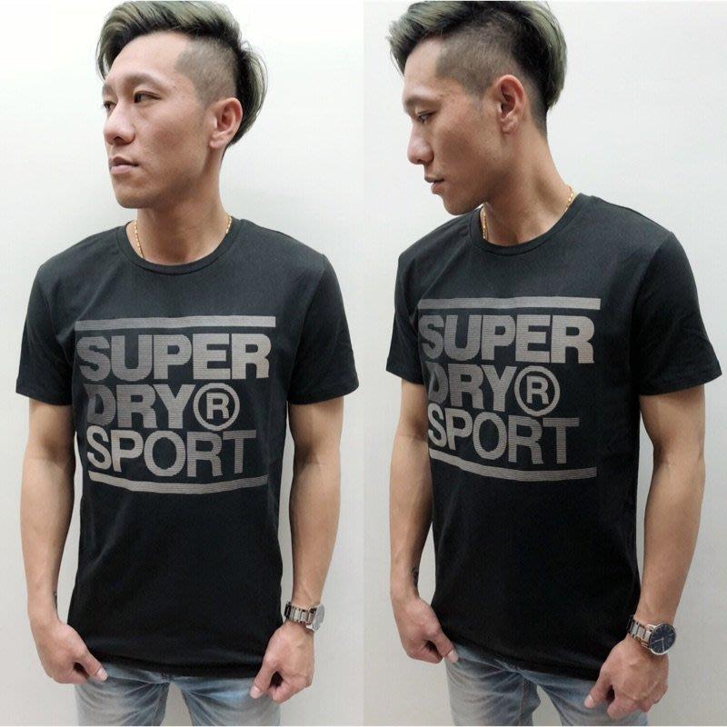 (高雄自取)保證正品【現貨】Superdry 極度乾燥 反光線條字體LOGO 男款圓領短袖T  (黑色)